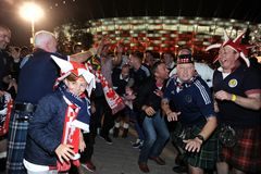Polish and scotish football fans Royalty Free Stock Photos