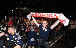 Polish and scotish football fans Stock Photography