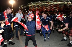 Polish and scotish football fans Stock Images