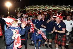 Polish and scotish football fans Royalty Free Stock Image