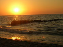 Polish sea. At sunset. Beautiful Baltic Sea Royalty Free Stock Photo