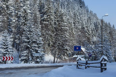 Polish-Slovak border post on the Lysa Polana in snowy forest in the High Tatras mountains. Stock Photos