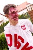 Polish soccer fan stock photography