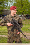 Polish soldier during demonstration of the military and rescue equipment during annual Polish national and public holiday Royalty Free Stock Photography