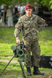 Polish soldier during demonstration of the military and rescue equipment Royalty Free Stock Photo