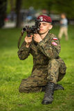 Polish soldier during demonstration of the military and rescue equipment . Krakow. Stock Photos