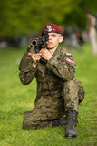 Polish soldier during demonstration of the military and rescue equipment Stock Photos