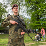 Polish soldier during demonstration of the military and rescue equipment Stock Image