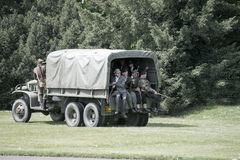 Polish soldier on truck during historical reenactment of WWII Royalty Free Stock Images