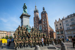 Polish soldiers in the free day posing at the camera Royalty Free Stock Photos