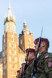 Polish soldiers on guard of the ceremony is the vow of first classes of the Jan III Sobieski High School Royalty Free Stock Photos