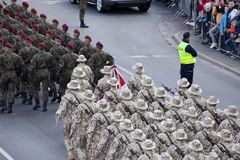 Polish soldiers marching on army parade on May 3, 2019 in Warsaw, Poland royalty free stock photo