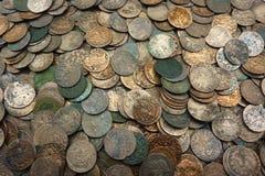 Polish solidus - boratynki. Lot of 17th century copper coins stock photo