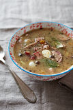 Polish sour rye soup with sausage and bacon Royalty Free Stock Images