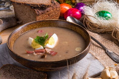 Polish Sour rye soup Stock Photos