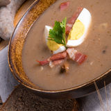 Polish Sour rye soup Stock Photo