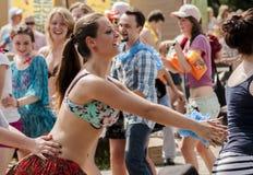 Polish students dance zumba class Stock Images