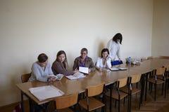 Polish students at final examination Royalty Free Stock Photography