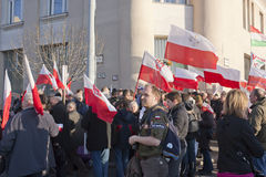 Polish sympathy strike by the Hungarian government. Polish sympathy strike in BUDAPEST - MARCH 15: Polish sympathy strike by the Hungarian government on the day Royalty Free Stock Photography