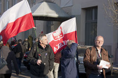 Polish sympathy strike by the Hungarian government. Polish sympathy strike in BUDAPEST - MARCH 15: Polish sympathy strike by the Hungarian government on the day Royalty Free Stock Images
