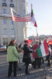 Polish sympathy strike by the Hungarian government. Polish sympathy strike in BUDAPEST - MARCH 15: Polish sympathy strike by the Hungarian government on the day Royalty Free Stock Photo