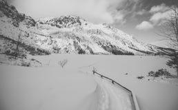 Polish Tatra mountains, frozen Morskie Oko lake Stock Photo