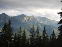 Polish Tatry mountains landscape in summer. Tatry mountains landscape in summer with clouds and forest stock photo