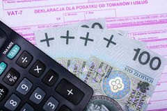 Polish tax and calculator Royalty Free Stock Image