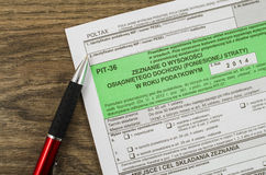 Polish tax form with pen Stock Photos