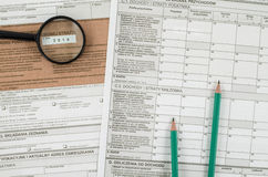Polish tax form with pencils Stock Photo