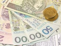 Polish tax form (PIT-11) and Polish money stock photo