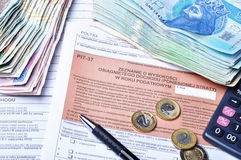 Polish tax forms stock images