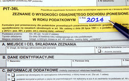 Polish tax forms, PIT-36L Stock Photos