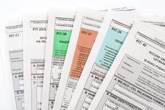 Polish tax return dokuments Stock Images