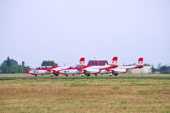Polish team Bialo-czerwone Iskry is taking-off on Radom Airshow, Poland Royalty Free Stock Images