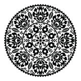 Polish traditional black folk pattern in circle - Wzory Lowickie Stock Photo