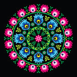 Polish traditional circle folk art pattern on black - Wzory Lowickie, Wycinanka Stock Photo