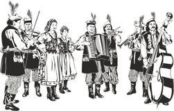 Polish Traditional Folk Band. Krakowiaki as Black and White Vector Style Illustration Isolated on White. Raster Image vector illustration