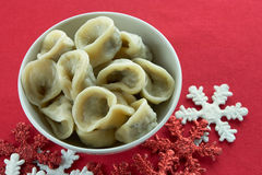 Polish traditional mushroom dumplings. Usually served with red borscht (czerwony barszcz) during Christmas Eve dinner / supper Royalty Free Stock Photo