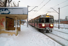 Polish train station at winter Stock Images