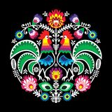 Polish vector folk art floral round embroidery with rooster  Stock Images