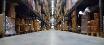 Polish warehuose. Work in polish  in typical warehouse, its a work for order picker Stock Images