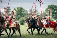 Polish Winged Hussars. WARSAW - July 04: Polish Winged Hussars defeat Russians - Battle of Klushino (KLUSZYN) 1610 - reenactment - July 04, 2010 in Warsaw Stock Photography