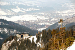 Polish Winter Capital City. Zakopane - View from Polish Mountains Tatry in cloudy weather stock image