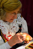 Polish Woman, Pisanki Easter Egg Dying Royalty Free Stock Images