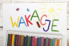 Polish word wakacje royalty free stock photos