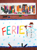 Polish words FERIE significant winter vacations Royalty Free Stock Image