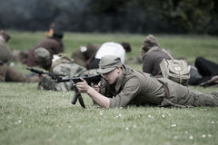 Polish young  soldier during historical reenactment of WWII Royalty Free Stock Photo