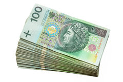 Polish zloty. Stack of 100's polish zloty Stock Images