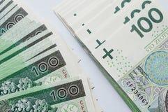 Polish zloty. Background from 100 polish zloty Stock Photo